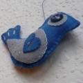 Ptáček modrý plstěný