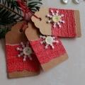 Vánoční kartička s vločkou a knoflíčkem