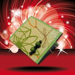 Zelená dárková kartička s korálky