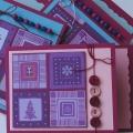 Přání vánoční fialové s knoflíčky